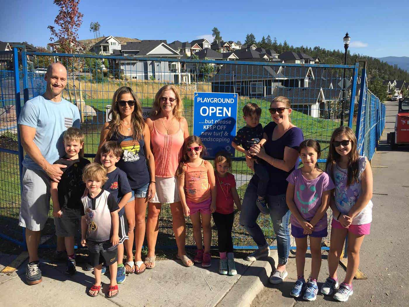 Wilden families in front of finished Lost Creek Park